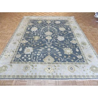 Hand-knotted Blue Wool Oushak Rug (9'2 x 11'6)