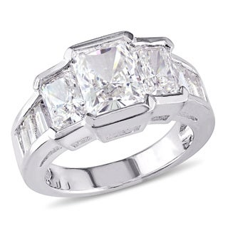 Miadora Emerald-Cut Crystal Half Bezel Graduated Engagement Ring in Sterling Silver