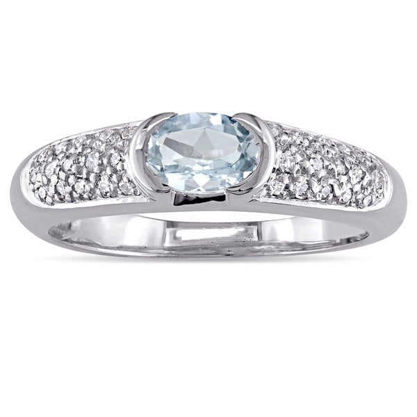 Shop Miadora Oval-Cut Aquamarine Ring And 1/10ct TDW