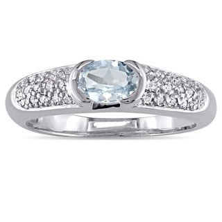 Miadora Oval-Cut Aquamarine Ring and 1/10ct TDW Diamond Engagement Ring in 14k White Gold
