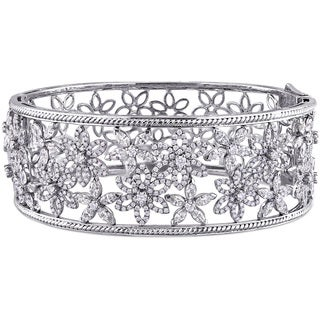 Miadora Signature Collection 7 1/2ct TDW Marquise and Round-Cut Diamond Openwork Floral Bangle in 14k White Gold (G-H, SI1-SI2)
