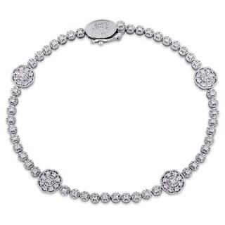 Laura Ashley 10k White Gold 7/8ct TDW Diamond Flower Station Beaded Bracelet (G-H, I2-I3)