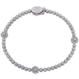 Laura Ashley 10k White Gold 1/2ct TDW Diamond Flower Station Beaded Bracelet (G-H, I2-I3)