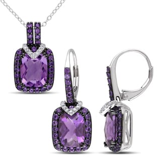 Miadora Cushion-Cut Amethyst-Africa and 1/8ct TDW Diamond Leverback Earrings and Necklace Set in Sterling Silver (G-H, I2-I3)