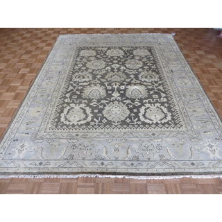 Oriental Brown Wool Oushak Hand-knotted Rug (8'2 x 10')