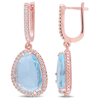 Miadora Fancy-Cut Synthetic Blue Topaz and White Topaz Halo Drop Earrings in Rose Plated Sterling Silver
