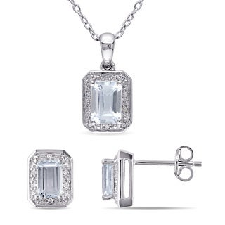 Miadora Aquamarine and 1/8ct TDW Diamond Halo Stud Earrings and Necklace Set in Sterling Silver (G-H, I2-I3)