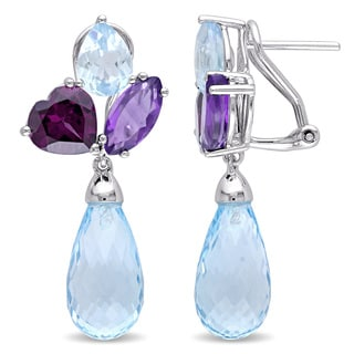 Miadora Signature Collection Sky Blue Topaz Amethyst-Africa Rhodolite-Garnet Cluster Dangle Earrings in Sterling Silver