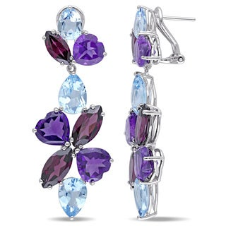Miadora Signature Collection Sky Blue Topaz Amethyst-Africa Rhodolite-Garnet Floral Mosaic Dangle Earrings in Sterling Silver
