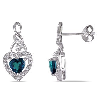 Miadora 1/8ct TDW Diamond and Heart-Cut Created Emerald Twisted Halo Earrings in Sterling Silver (G-H, I2-I3)