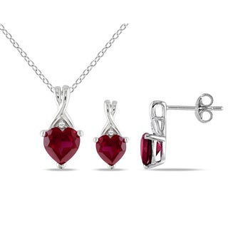 Miadora Created Ruby and Diamond Accent Twisted Heart Necklace and Earrings Set in Sterling Silver