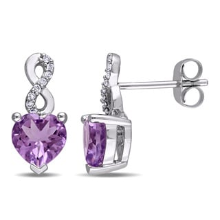 Laura Ashley 10k White Gold Heart-Cut Amethyst and Diamond Accent Infinity Stud Earrings (G-H, I2-I3)