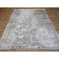 Oriental Grey Modern Rayon from Bamboo Area Hand-knotted Rug (8' x 9'11)