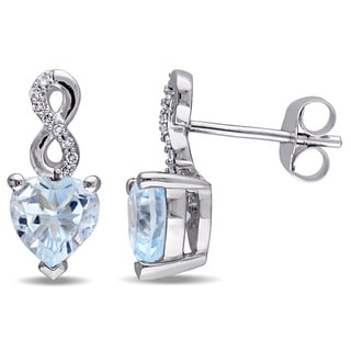 Laura Ashley 10k White Gold Heart-Cut Sky-Blue Topaz and Diamond Accent Infinity Stud Earrings (G-H, I2-I3)