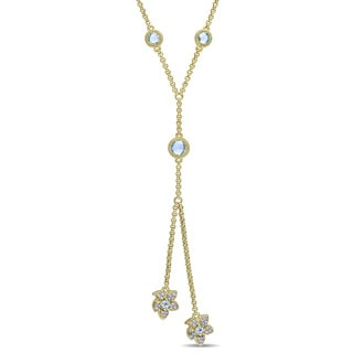 Laura Ashley Yellow Plated Sterling Silver Sky Blue Topaz and 1/10ct TDW Diamond Double Flower Station Drop Necklace (G-H,I2-I3)