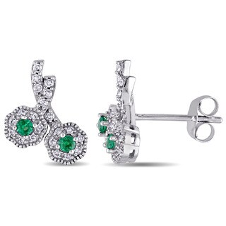 Laura Ashley 10k White Gold Created Emerald and 1/6ct TDW Diamond Double Flower Stud Earrings (G-H, I2-I3)