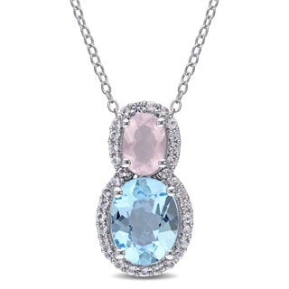 Miadora Rose Quartz with Blue and White Topaz Tiered Oval Necklace in Sterling Silver