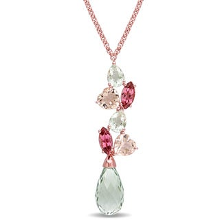 Miadora Signature Collection Green Amethyst Morganite Pink Tourmaline Journey Necklace in 18k Rose Plated Sterling Silver