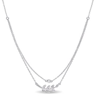 Miadora Diamond Accent and White Topaz Tiered Leaf Branch Necklace in Sterling Silver