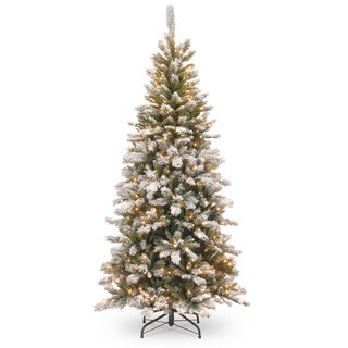 Snowy Mountain Pine 7.5-foot Slim Pine Tree with Clear Lights