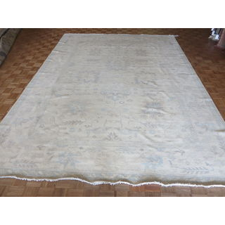 Oriental Ivory White Wash Turkish Oushak with Wool Hand-knotted Rug (10'4 x 14)