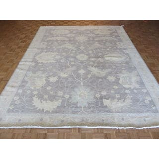 Oriental Lavender White Wash Wool Oushak Hand-knotted Rug (9'4 x 11'7)