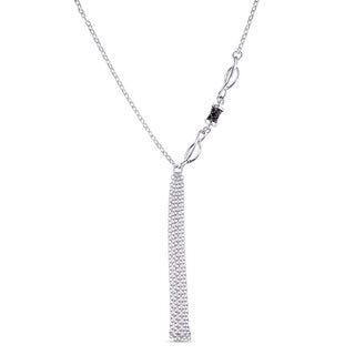 Miadora Black Spinel Lariat Tassel Necklace in Sterling Silver