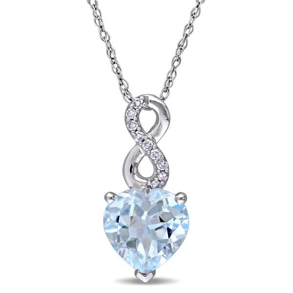 49d4f914e Laura Ashley 10k White Gold Heart-Cut Sky-Blue Topaz and Diamond Accent  Infinity