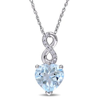 Laura Ashley 10k White Gold Heart-Cut Sky-Blue Topaz and Diamond Accent Infinity Drop Necklace (G-H, I2-I3)