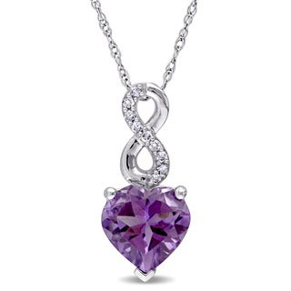 Laura Ashley 10k White Gold Heart-Cut Amethyst and Diamond Accent Infinity Drop Necklace (G-H, I2-I3)