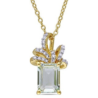 Laura Ashley Yellow Plated Sterling Silver Green Amethyst and 1/10ct TDW Diamond Ribbon Drop Necklace (G-H, I2-I3)