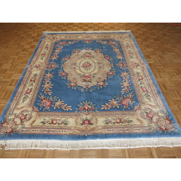 Oriental Blue 100 Percent Wool Chinese Aubusson Hand