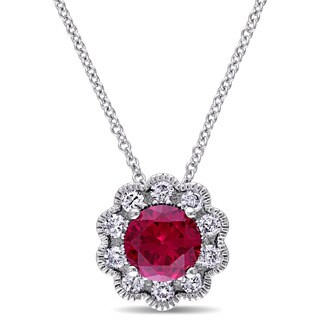 Laura Ashley 10k White Gold Created Ruby and 1/4ct TDW Diamond Flower Necklace (G-H, I2-I3)