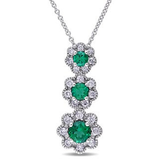 Laura Ashley 10k White Gold Created Emerald and 3/8ct TDW Diamond Triple Flower Graduated Necklace (G-H, I2-I3)