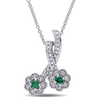 Laura Ashley 10k White Gold Created Emerald and 1/6ct TDW Diamond Double Flower Dangle Necklace (G-H, I2-I3)