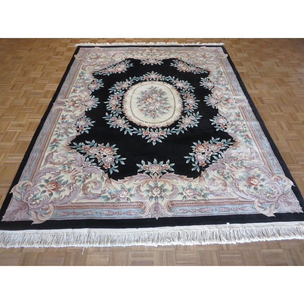 9 X 12 Nourison Nourmak Hand Knotted 100 Wool Persian: Oriental Chinese Aubusson Black Wool Hand-knotted Rug (8 X