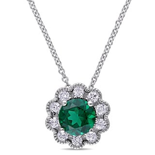Laura Ashley 10k White Gold Created Emerald and 1/4ct TDW Diamond Flower Necklace (G-H, I2-I3)