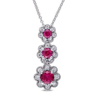 Laura Ashley 10k White Gold Created Ruby and 3/8ct TDW Diamond Triple Flower Graduated Necklace (G-H, I2-I3)