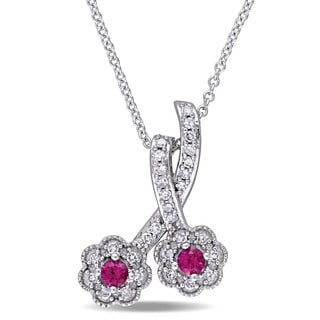 Laura Ashley 10k White Gold Created Ruby and 1/6ct TDW Diamond Double Flower Dangle Necklace (G-H, I2-I3)