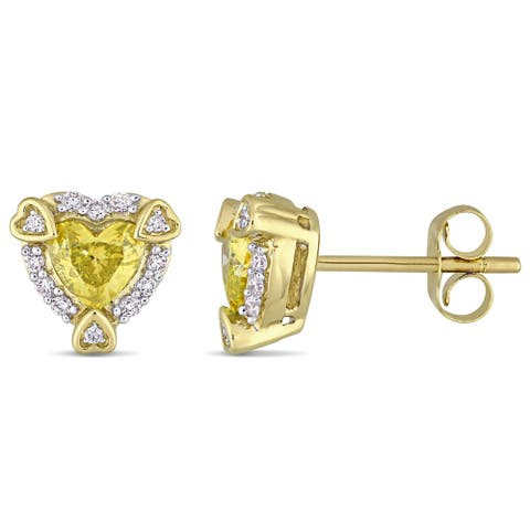 3/4ct TDW Diamond Heart Halo Stud Earrings in 14k Yellow Gold by The Miadora Signature Collection