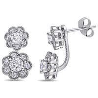 Laura Ashley 10k White Gold 1/10ct TDW Diamond Double Flower Graduated Earrings