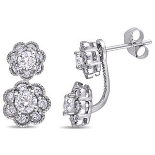 Laura Ashley 10k White Gold 1/10ct TDW Diamond Double Flower Graduated Earrings