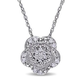 Laura Ashley 10k White Gold 1/10ct TDW Diamond Flower Necklace
