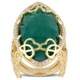 Miadora Signature Collection Marquise-Cut Green Onyx 1/3ct TDW Diamond Ring in 18k Yellow Plated Sterling Silver (G-H, SI1-SI2)