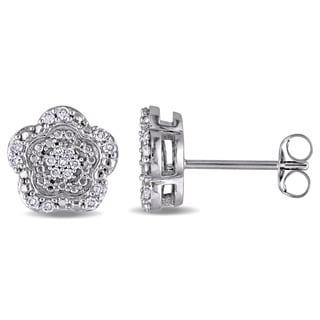 Laura Ashley 10k White Gold 1/5ct TDW Diamond Flower Cluster Stud Earrings (G-H, I2-I3)