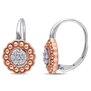 Laura Ashley 10k 2-Tone 10k White and Rose Gold 1/5ct TDW Diamond Flower Leverback Earrings