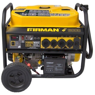 Firman Power Equipment P08003 8,000 / 10,000 Watt Remote Start Portable Gas Generator with Wheel Kit
