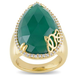 Miadora Signature Collection Pear-Cut Green Onyx 3/8ct TDW Diamond Halo Ring in 18k Yellow Plated Sterling Silver (G-H,SI1-SI2)