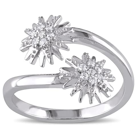 Miadora White Topaz Climber Star Bypass Ring in Sterling Silver
