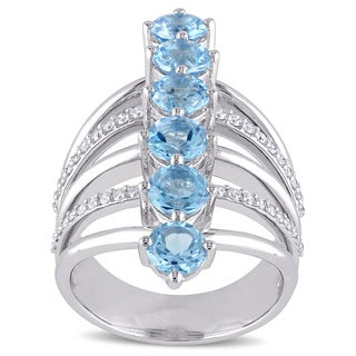 Miadora Signature Collection Blue Topaz-Swiss and 1/3ct TDW Diamond Journey Cocktail Ring in Sterling Silver (G-H, SI1-SI2)